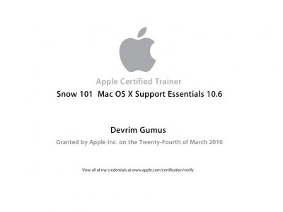 Apple Certified Trainer Snow 101 10.6